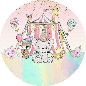 Painel de Festa Redondo em Tecido Sublimado Circo Animais Aquarela c/elástico