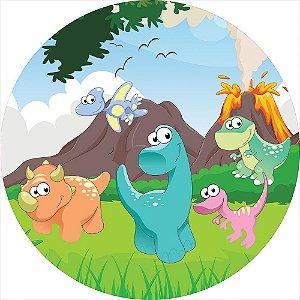 Painel de Festa Redondo em Tecido Sublimado Dinossauros Cartoon c/elástico
