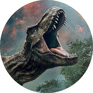 Painel de Festa Redondo em Tecido Sublimado Tiranossauro Rex c/elástico