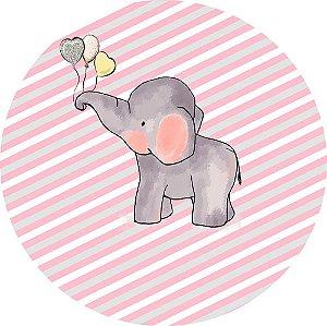 Painel de Festa Redondo em Tecido Sublimado Elefantinho Rosa c/elástico