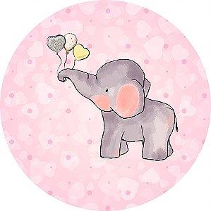 Painel de Festa Redondo em Tecido Sublimado Elefantinho Menina c/elástico