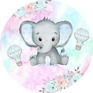 Painel de Festa Redondo em Tecido Sublimado Elefantinho Balões Aquarela c/elástico