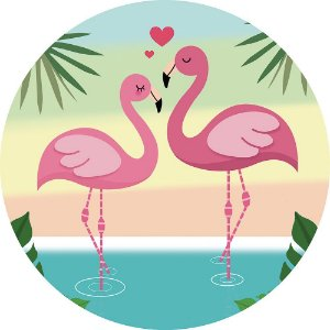 Painel de Festa Redondo em Tecido Sublimado Flamingos c/elástico