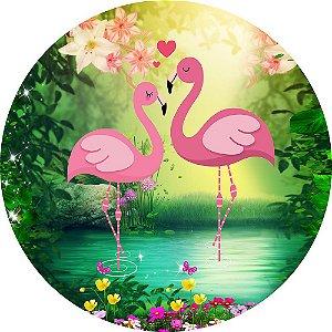 Painel de Festa Redondo em Tecido Sublimado Flamingos na Floresta c/elástico
