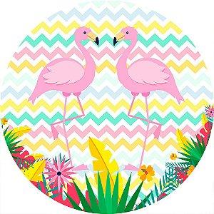 Painel de Festa Redondo em Tecido Sublimado Flamingos Fundo Colorido c/elástico