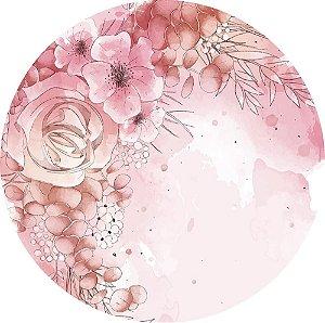 Painel de Festa Redondo em Tecido Sublimado Flores Aquarela c/elástico