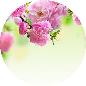 Painel de Festa Redondo em Tecido Sublimado Lindas Flores c/elástico