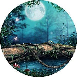 Painel de Festa Redondo em Tecido Sublimado Floresta Mágica c/elástico
