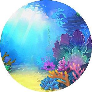 Painel de Festa Redondo em Tecido Sublimado Raio de Sol Fundo do Mar c/elástico