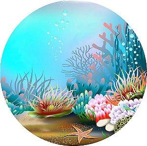 Painel de Festa Redondo em Tecido Sublimado Lindo Fundo do Mar c/elástico