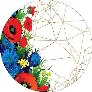 Painel de Festa Redondo em Tecido Sublimado Fundo Geométrico Flores Coloridas c/elástico