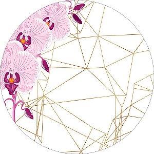 Painel de Festa Redondo em Tecido Sublimado Fundo Geométrico Flores Rosas c/elástico