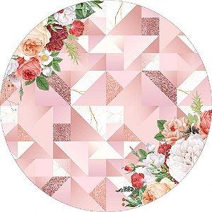Painel de Festa Redondo em Tecido Sublimado Fundo Geométrico Rose Gold c/elástico