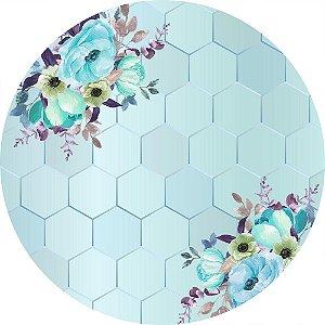 Painel de Festa Redondo em Tecido Sublimado Fundo Geométrico Flores Azuis c/elástico