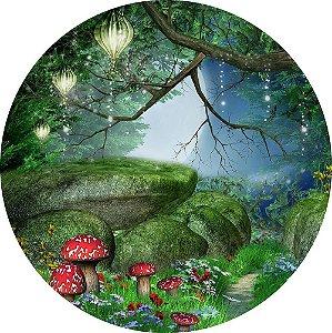 Painel de Festa Redondo em Tecido Sublimado Bosque da Fantasia c/elástico