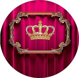 Painel de Festa Redondo em Tecido Sublimado Realeza Coroa c/elástico