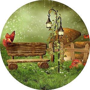 Painel de Festa Redondo em Tecido Sublimado Jardim Encantado c/elástico