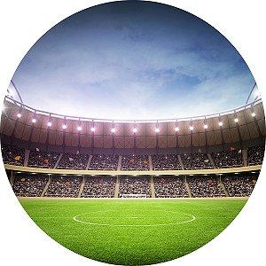 Painel de Festa Redondo em Tecido Sublimado Estádio Futebol c/elástico
