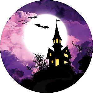 Painel de Festa Redondo em Tecido Sublimado Castelo Halloween c/elástico