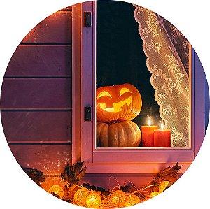 Painel de Festa Redondo em Tecido Sublimado Abóboras na Janela Halloween c/elástico
