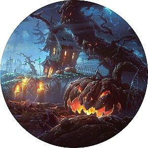 Painel de Festa Redondo em Tecido Sublimado Dark Halloween c/elástico