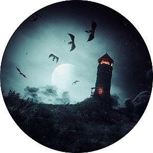 Painel de Festa Redondo em Tecido Sublimado Farol Macabro Halloween c/elástico