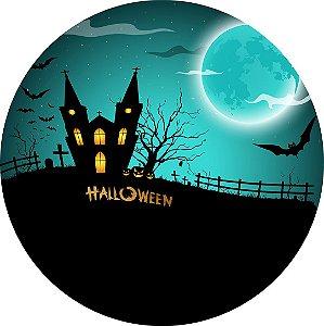 Painel de Festa Redondo em Tecido Sublimado Halloween Assustador c/elástico