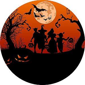 Painel de Festa Redondo em Tecido Sublimado Lua Halloween c/elástico