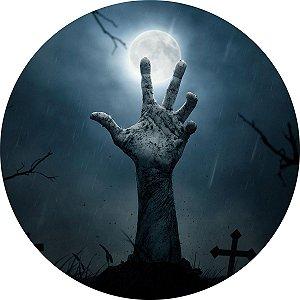 Painel de Festa Redondo em Tecido Sublimado Mão no Cemitério Halloween c/elástico