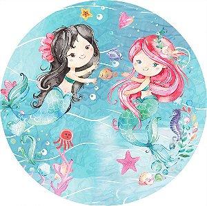 Painel de Festa Redondo em Tecido Sublimado Sereias Aquarelas c/elástico