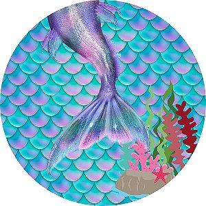 Painel de Festa Redondo em Tecido Sublimado Cauda de Sereia Mod2 c/elástico