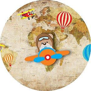 Painel de Festa Redondo em Tecido Sublimado Ursinho Aviador Mapa c/elástico