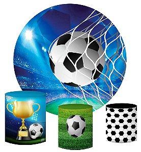 Kit Painel Redondo De Festa e Capas de Cilindro em tecido sublimado Champions Futebol