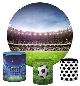 Kit Painel Redondo De Festa e Capas de Cilindro em tecido sublimado Estádio Futebol