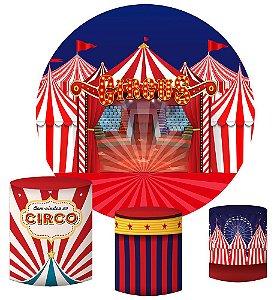 Kit Painel Redondo De Festa e Capas de Cilindro em tecido sublimado Circo