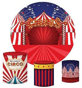 Kit Painel Redondo De Festa e Capas de Cilindro em tecido sublimado Circo Roda Gigante