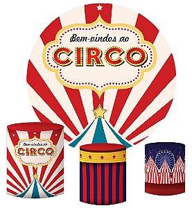 Kit Painel Redondo De Festa e Capas de Cilindro em tecido sublimado Circo Vintage