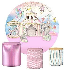 Kit Painel Redondo De Festa e Capas de Cilindro em tecido sublimado Circo Aquarela Rosa