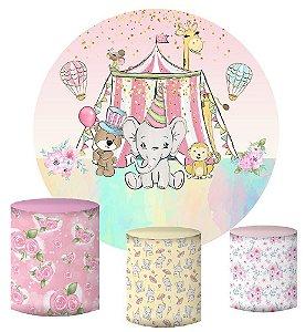 Kit Painel Redondo De Festa e Capas de Cilindro em tecido sublimado Circo Rosa Candy