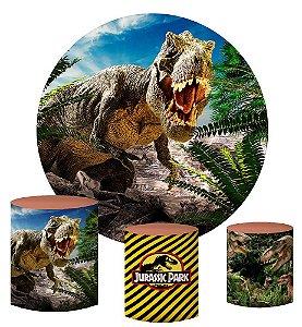 Kit Painel Redondo De Festa e Capas de Cilindro em tecido sublimado Dinossauros
