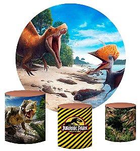 Kit Painel Redondo De Festa e Capas de Cilindro em tecido sublimado Dinossauros Rio