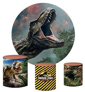 Kit Painel Redondo De Festa e Capas de Cilindro em tecido sublimado Tiranossauro Rex