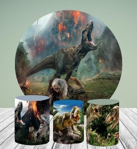 Kit Painel Redondo De Festa e Capas de Cilindro em tecido sublimado Grande Dinossauro