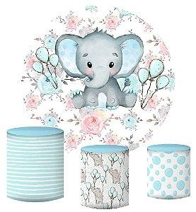 Kit Painel Redondo De Festa e Capas de Cilindro em tecido sublimado Elefantinho Aquarelado