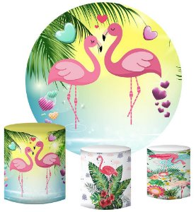 Kit Painel Redondo De Festa e Capas de Cilindro em tecido sublimado Flamingos Rosas