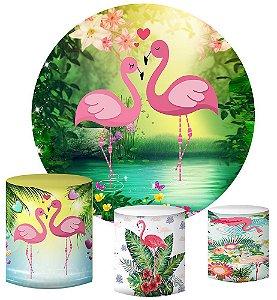 Kit Painel Redondo De Festa e Capas de Cilindro em tecido sublimado Flamingos Lago