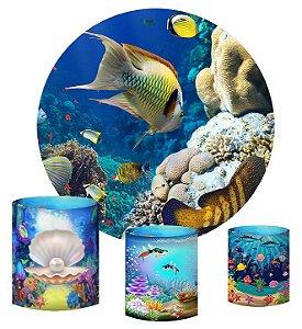 Kit Painel Redondo De Festa e Capas de Cilindro em tecido sublimado Peixes Fundo do Mar
