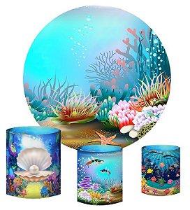 Kit Painel Redondo De Festa e Capas de Cilindro em tecido sublimado Algas Fundo do Mar
