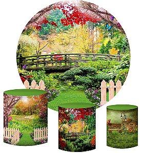 Kit Painel Redondo De Festa e Capas de Cilindro em tecido sublimado Jardim