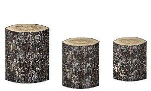 Kit Capas de Cilindro de festa em tecido sublimado Tronco de Árvore mod5